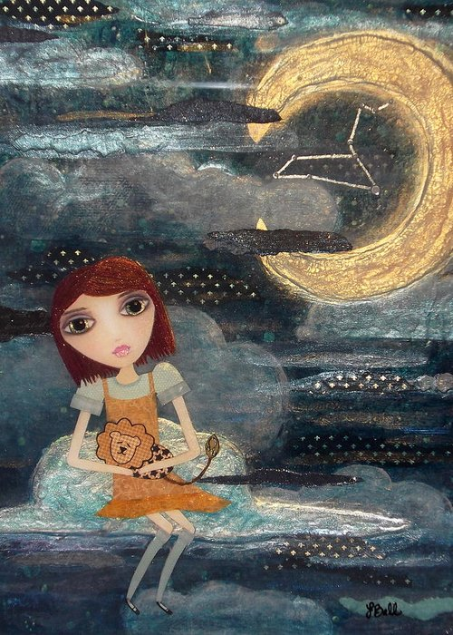 Zodiac Greeting Card featuring the painting Leo by Laura Bell