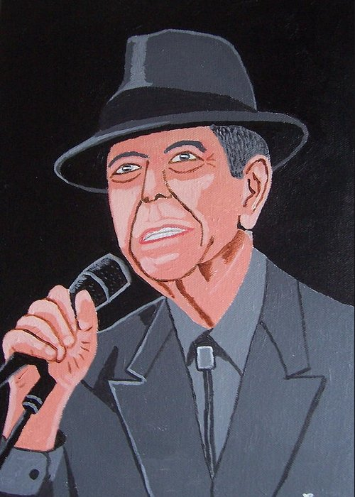 Leonard Cohen Greeting Card featuring the painting Leonard Cohen by Eamon Reilly