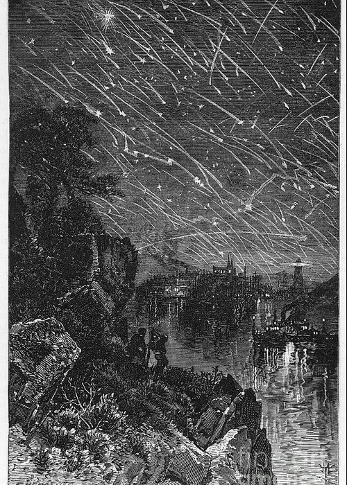 1833 Greeting Card featuring the photograph Leonid Meteor Shower, 1833 by Granger
