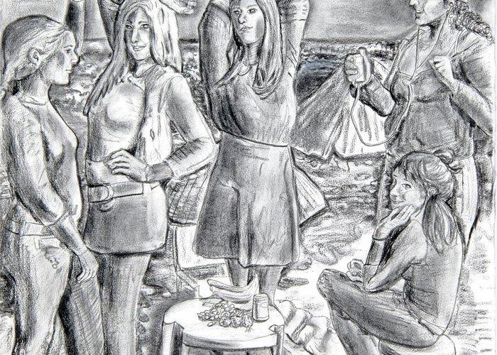 Demoiselles Greeting Card featuring the drawing Les Demoiselles V1 by Susan Cafarelli Burke