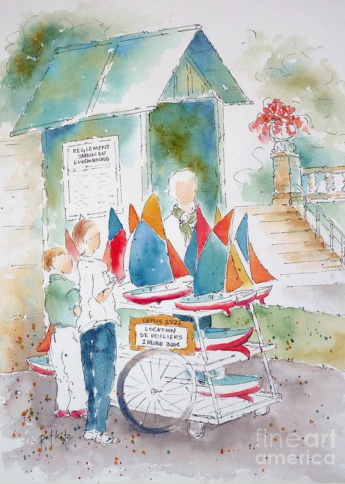Paris Greeting Card featuring the painting Les Voiliers Jardin Du Luxembourg by Pat Katz