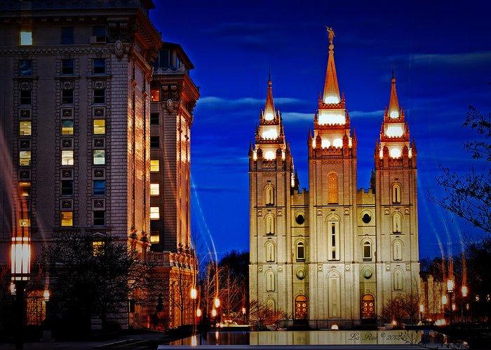 Salt Lake Temple Flowers Light Trails Heavenly Light Greeting Cards