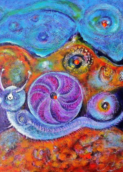 Portraits Greeting Card featuring the painting Let's Say a Snail by ITI Ion Vincent Danu