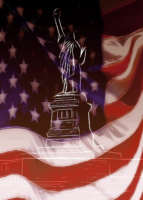 Liberty Statue Us Usa Ny New York Freedom Stars Stripes Flag Nation National Flame Greeting Card featuring the mixed media Liberty For All by Steve K
