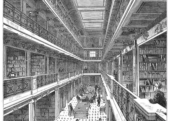 1880s Greeting Card featuring the photograph Library Of Congress, 1880 by Granger
