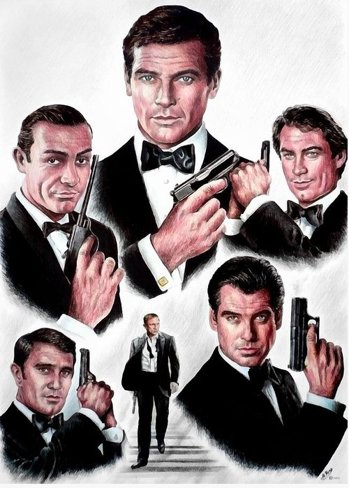 James Bond Greeting Card featuring the drawing Licence To Kill Digital by Andrew Read