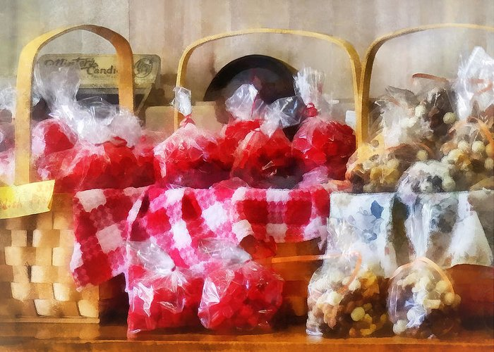 Candy Greeting Card featuring the photograph Licorice And Chocolate Covered Peanuts by Susan Savad