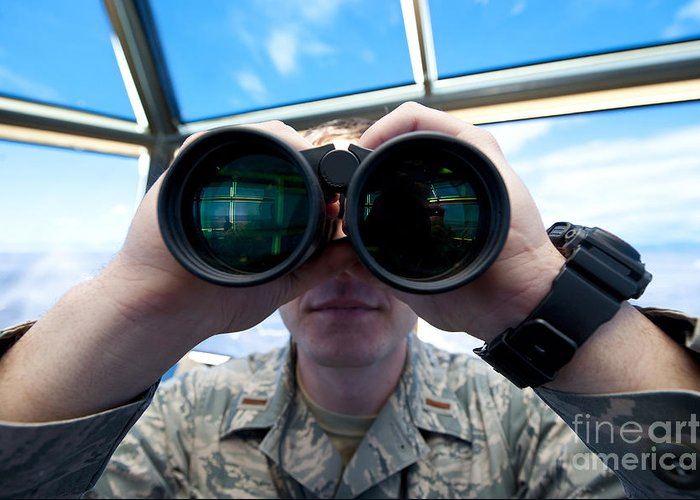 Military Greeting Card featuring the photograph Lieutenant Uses Binoculars To Scan by Stocktrek Images
