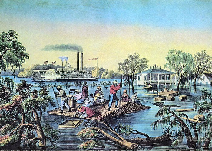 History Greeting Card featuring the photograph Life On The Mississippi, 1868 by Photo Researchers