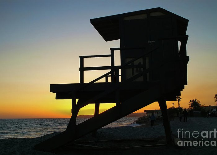 Sunset Greeting Card featuring the photograph Lifeguard Silhouette by Mariola Bitner