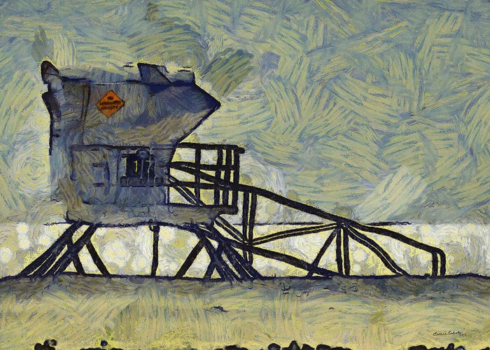Lifeguard Station 17 Greeting Card featuring the digital art Lifeguard Station 17 by Ernie Echols