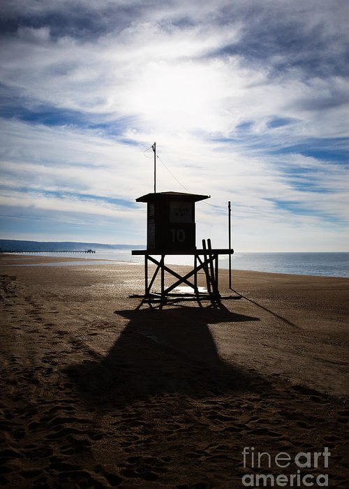 Balboa Peninsula Greeting Card featuring the photograph Lifeguard Tower Newport Beach California by Paul Velgos