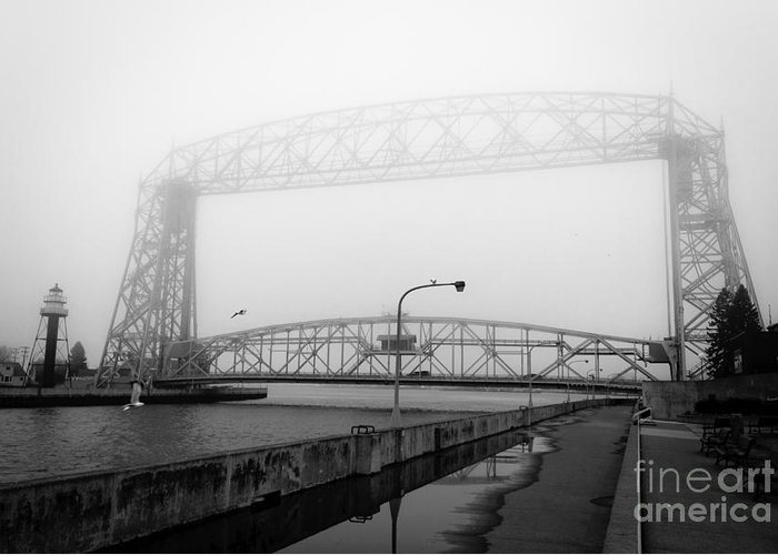 Lake Superior Greeting Card featuring the photograph Lift Bridge Silver Fog by Ever-Curious Photography