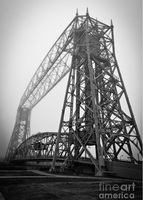 Lift Bridge Greeting Card featuring the photograph Lift Bridge Standing Strong In Fog by Ever-Curious Photography