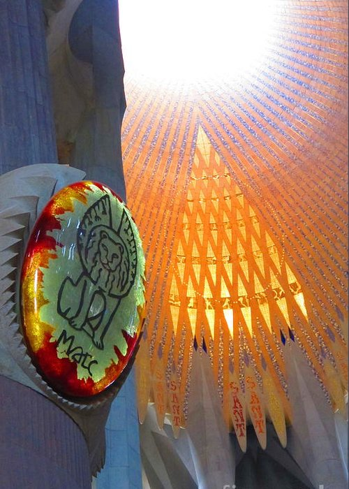 Sagrada Família Greeting Card featuring the photograph Light In The Sagrada Familia by Colleen Rugg