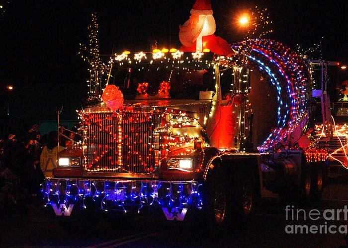 Christmas Lights Greeting Card featuring the photograph Lighted Cement Truck by Randy Harris