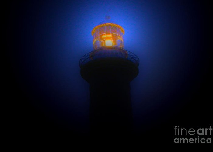 Lighthouse Photographs Greeting Card featuring the photograph Lighthouse Glow by Joanne Kocwin
