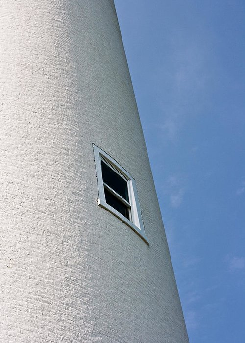 White Greeting Card featuring the photograph Lighthouse Window by Jeffrey Auger