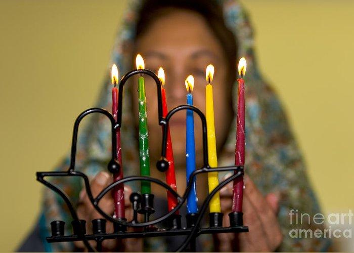 Hanuka Greeting Card featuring the photograph Lighting The Chanukia by Yossi Aptekar