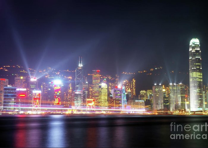 Tst Greeting Card featuring the photograph Lighting Up The Harbor by Bibhash Chaudhuri