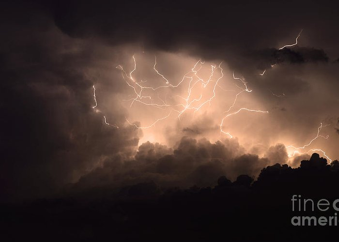 Lightning Greeting Card featuring the photograph Lightning by Bob Christopher