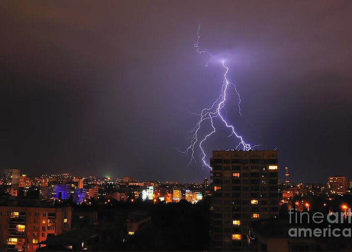 Landscape Greeting Card featuring the photograph Lightning by Evmeniya Stankova