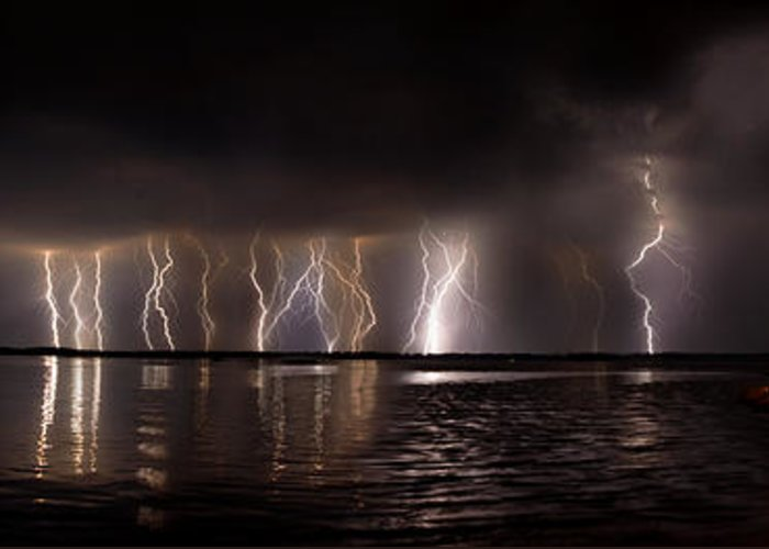 Lightning Greeting Card featuring the photograph Lightning Panorama by Brian Fisher