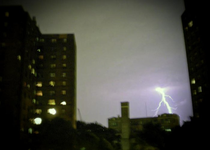 Night Greeting Card featuring the photograph Lightning Strike by Cathy Brown