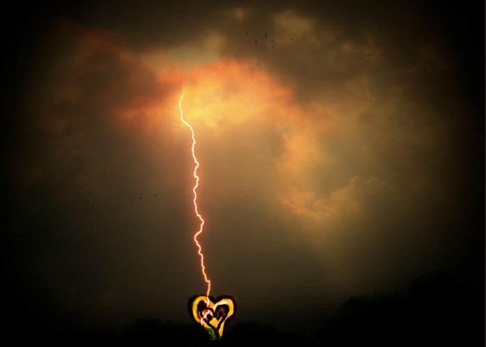 Lightning Greeting Card featuring the photograph Lightning Strikes The Heart by Trish Tritz