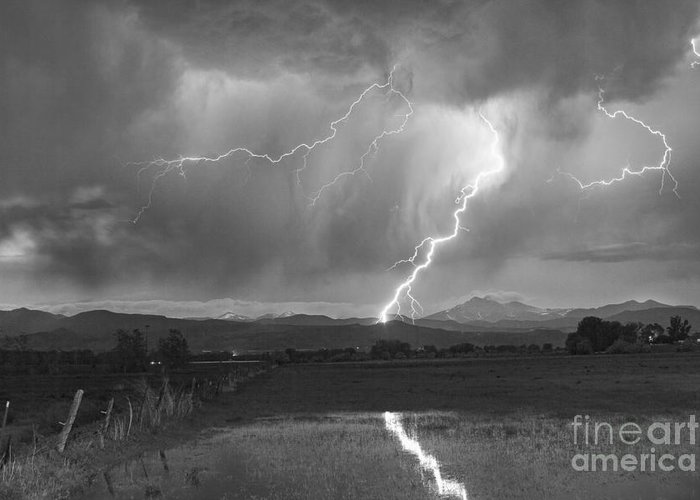 Awesome Greeting Card featuring the photograph Lightning Striking Longs Peak Foothills 2bw by James BO Insogna