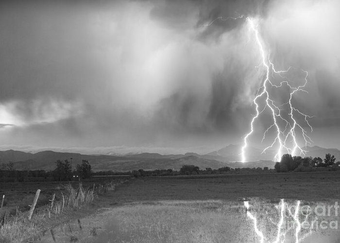 Awesome Greeting Card featuring the photograph Lightning Striking Longs Peak Foothills 6bw by James BO Insogna