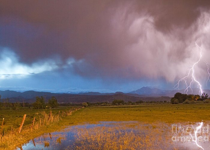 Awesome Greeting Card featuring the photograph Lightning Striking Longs Peak Foothills 7 by James BO Insogna