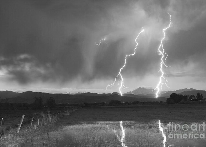 Awesome Greeting Card featuring the photograph Lightning Striking Longs Peak Foothills Bw by James BO Insogna