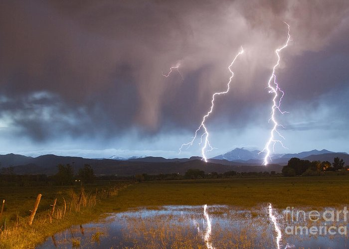 Awesome Greeting Card featuring the photograph Lightning Striking Longs Peak Foothills by James BO Insogna