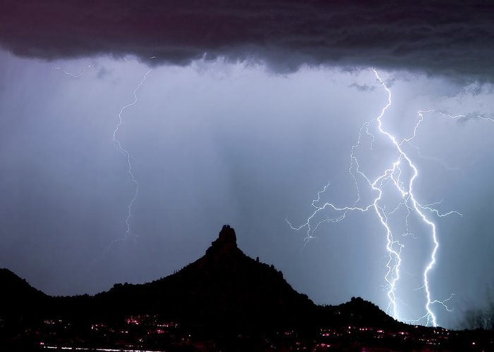 Pinnacle Peak Greeting Card featuring the photograph Lightning Thunderstorm At Pinnacle Peak by James BO Insogna