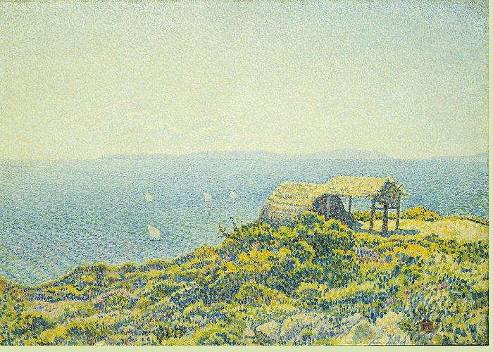 L'ile Du Levant Greeting Card featuring the painting L'ile Du Levant Vu Du Cap Benat by Theo van Rysselberghe