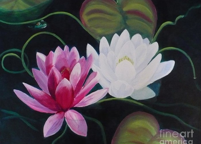 Sold Greeting Card featuring the painting Lillies And Frog by Janet McDonald