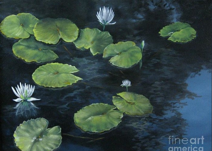 Lily Greeting Card featuring the painting Lilypond by Patricia Lang