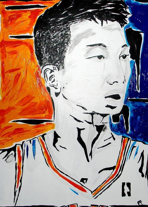Jeremy Greeting Card featuring the painting Lin by Patrick Ficklin