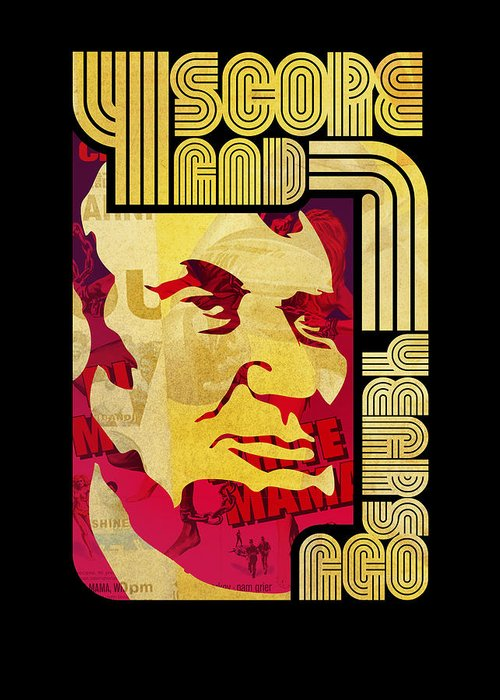 Typography Greeting Card featuring the digital art Lincoln 4 Score On Black by Jeff Steed