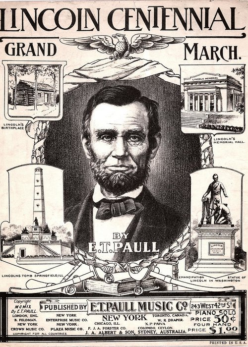 1909 Greeting Card featuring the photograph Lincoln Centennial, C1909 by Granger