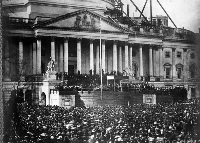 Abraham Lincoln Greeting Card featuring the photograph Lincoln Inauguration, 1861 by Chicago Historical Society