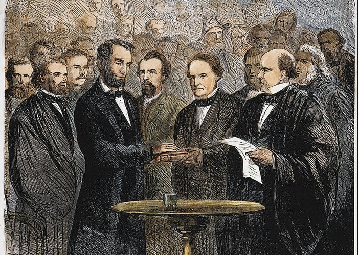 1865 Greeting Card featuring the photograph Lincoln Inauguration, 1865 by Granger