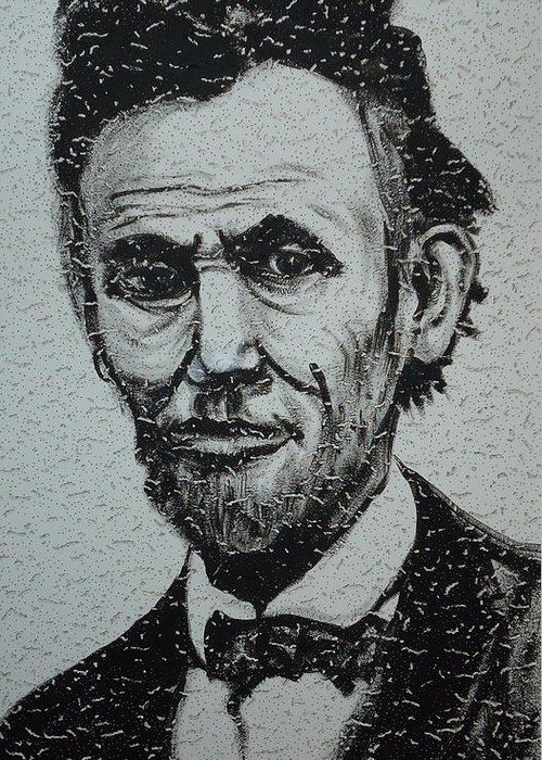 Abraham Lincoln Greeting Card featuring the painting Lincoln by Pete Maier
