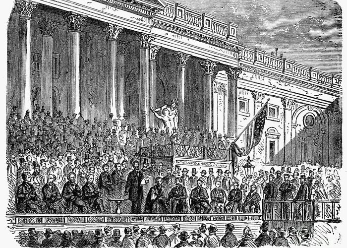 1861 Greeting Card featuring the photograph Lincolns Inauguration, 1861 by Granger