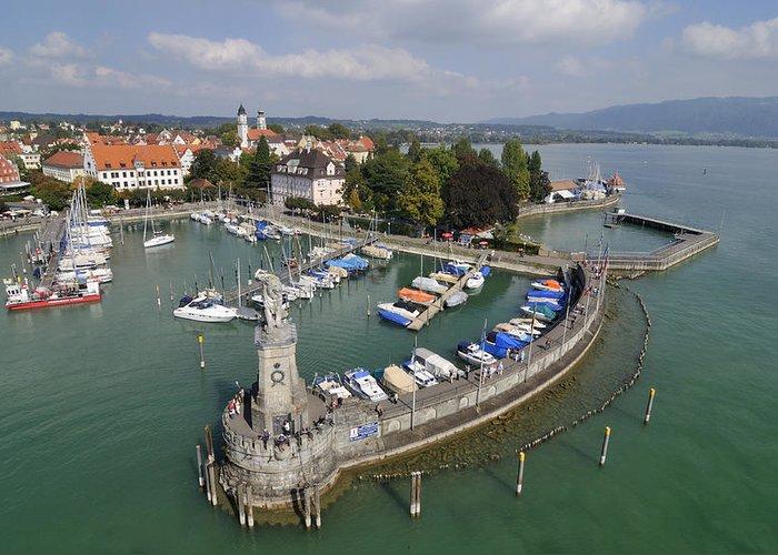 Lindau Greeting Card featuring the photograph Lindau Harbor Lake Constance Bavaria Germany by Matthias Hauser