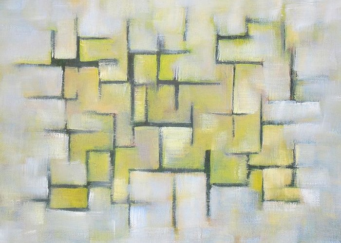 Abstract Greeting Card featuring the painting Line Series Blue And Yellow by Patricia Cleasby
