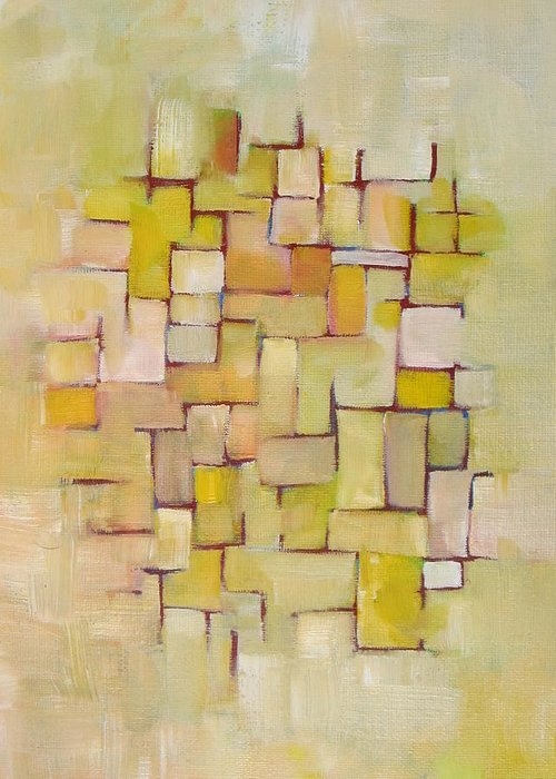Abstract Greeting Card featuring the painting Line Series Yellow Basket Weave by Patricia Cleasby