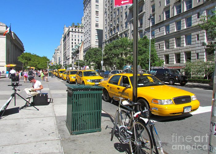 Taxis Greeting Card featuring the photograph Lined Up For Business by Randi Shenkman