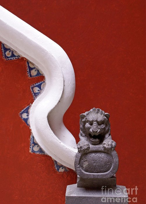Mexico Greeting Card featuring the photograph Lion And Bannister Puebla Mexico by John Mitchell